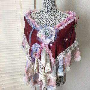 Bohemian Scarf Shawl Cap Silk Velvet Mixed Fabric